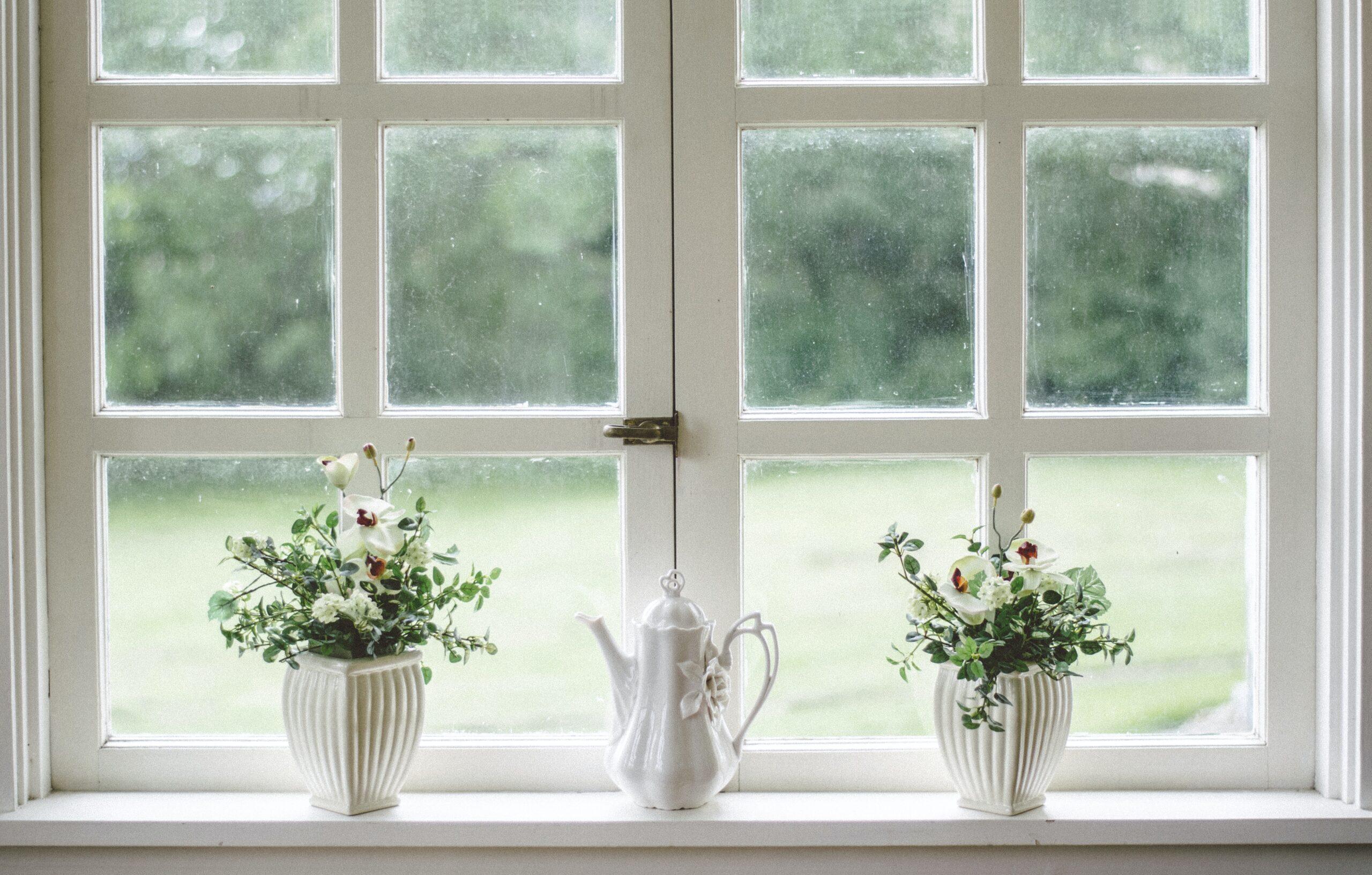 白枠の窓とお花