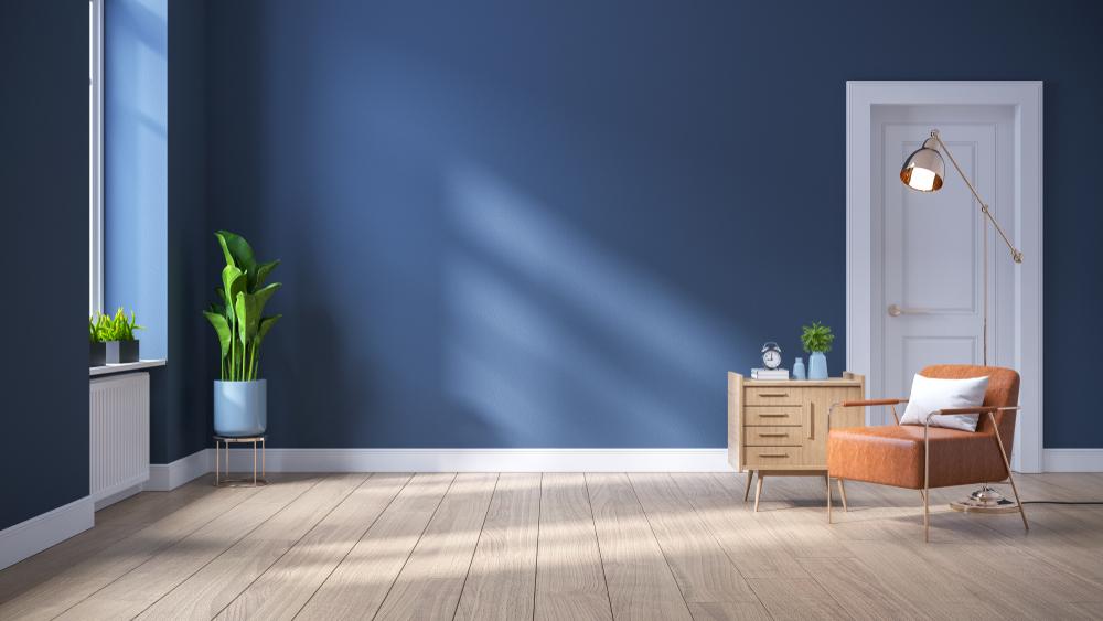 青い壁の部屋