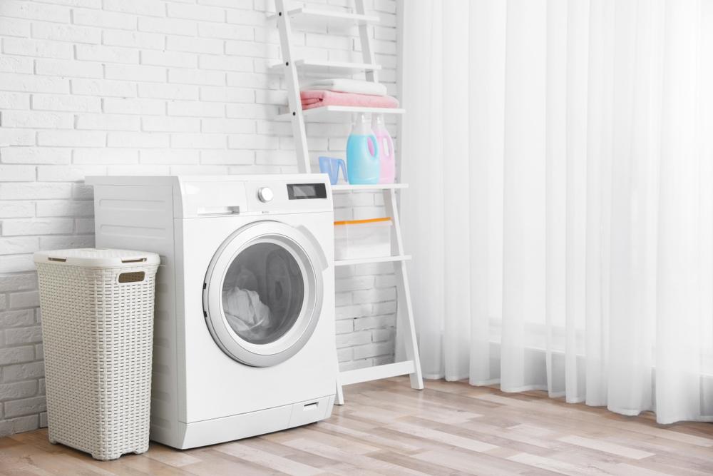 洗濯機と脚立式収納