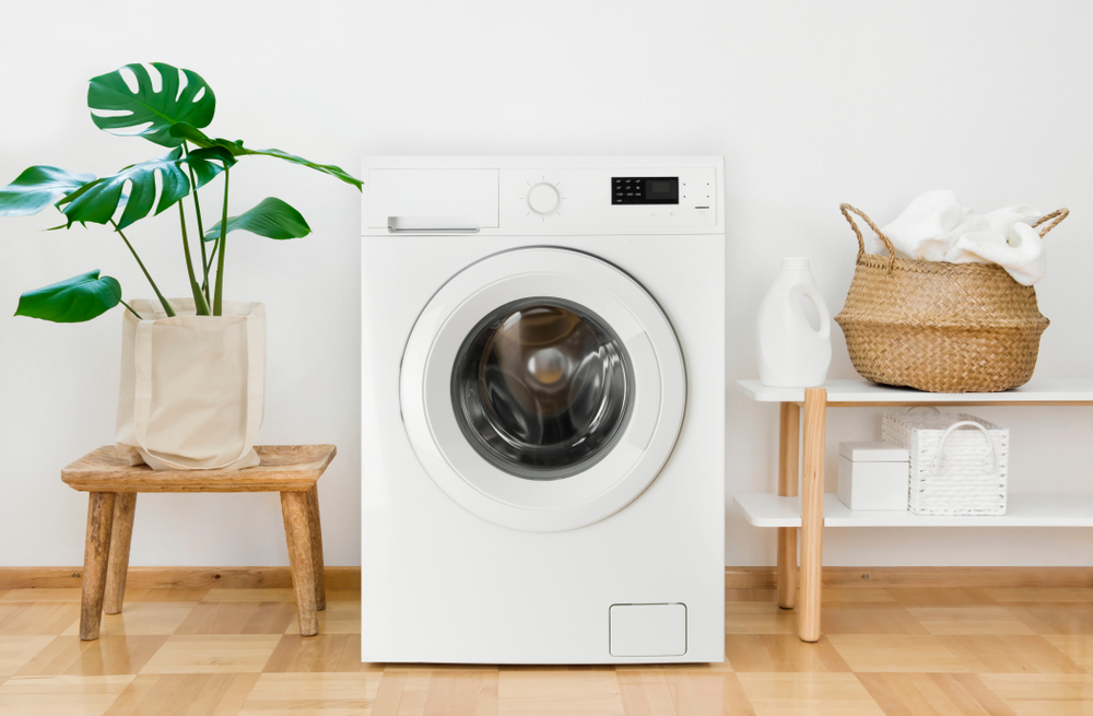 洗濯機とナチュラルな家具