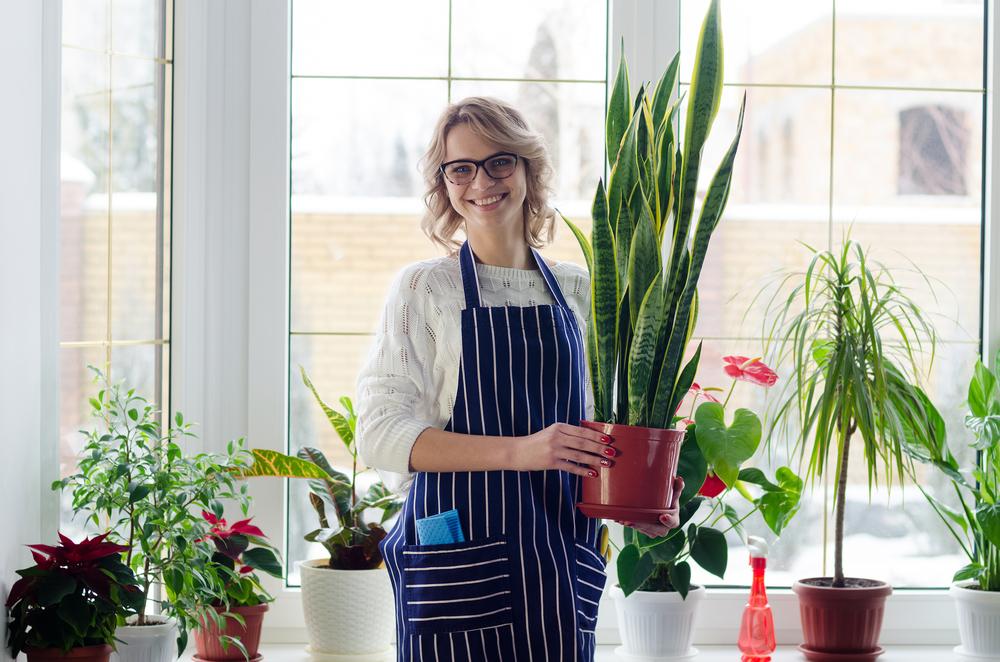笑顔で観葉植物を持つ女性