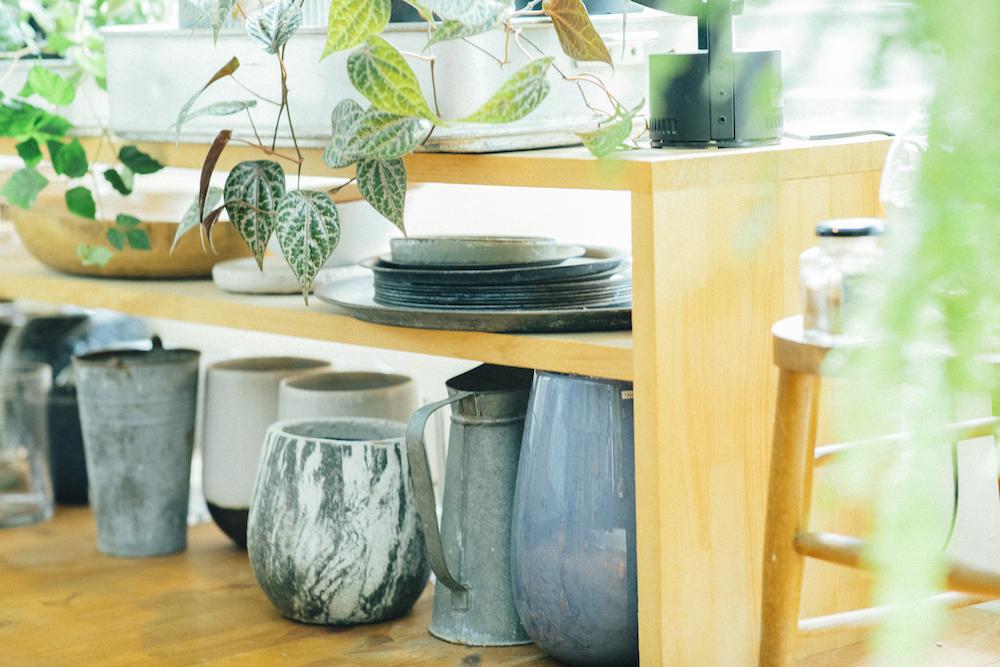 お部屋の中に置かれた花瓶や植木鉢