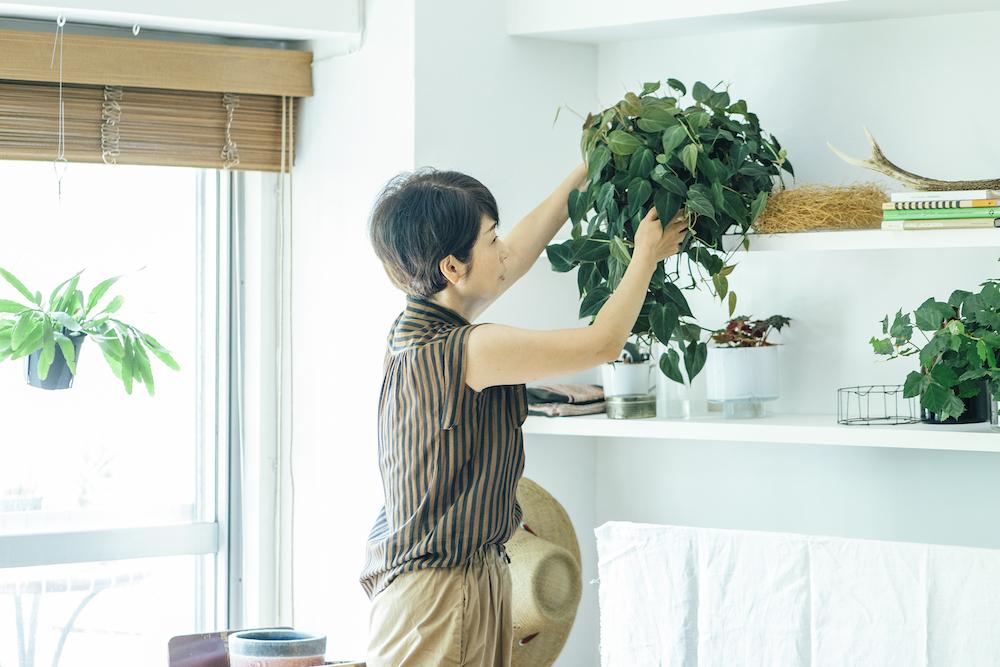 植物を持つ、フラワー&グリーンスタイリストのさとうゆみこさん