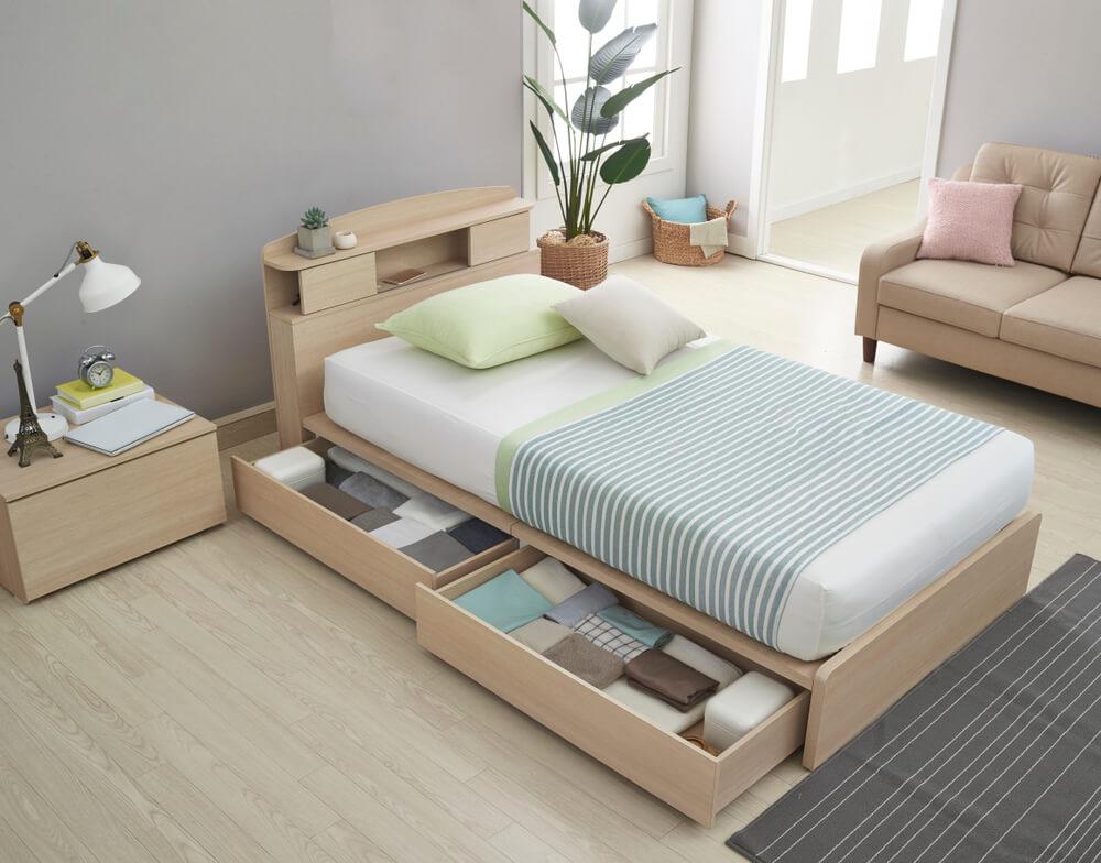 スタンダートタイプの収納付きベッド