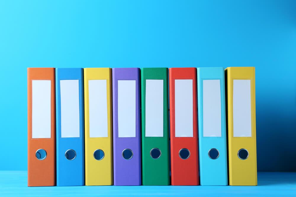 カラフルなファイルボックス