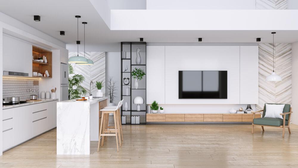 キッチンとリビングが一体化した部屋